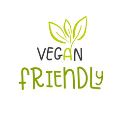 Vector eco, bio green logo or sign. Vegan  healthy food