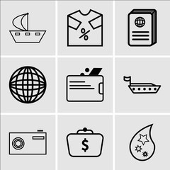 Set Of 9 simple editable icons such as Star, Money in bag, Camera, Ship, Wallet, Earth, Passport, t-shirt discount, Ship, can be used for mobile, web UI