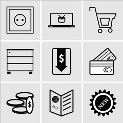 Set Of 9 simple editable icons such as New, Passport visa, Money, Shopping card, Money down arrow, Furniture wardrobe, Shopping, On, Wall poster or frame with smile, can be used for mobile, web UI