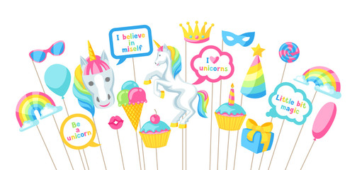 Happy birthday photo booth props. Fantasy items and objects for festival and party