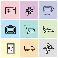 Set Of 9 simple editable icons such as Discount tag on shopping, Shipping car, Wall poster or frame with smile, Airplane, Shopping, Bag, Cup, Watch, clock, Camera, can be used for mobile, web UI