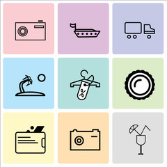 Set Of 9 simple editable icons such as cocktail, Camera, Wallet, Saw Round, Discount tag on shopping, Palma tree, Shipping car, Ship, Camera, can be used for mobile, web UI