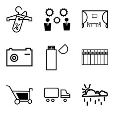 Set Of 9 simple editable icons such as Cup, Shipping car, Shopping, Heater, USB Flashcard, Camera, Kitchen, Business, Discount tag on shopping, can be used for mobile, web UI