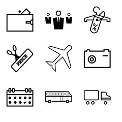 Set Of 9 simple editable icons such as Shipping car, Bus, Calendar, Camera, Airplane, Scissors and price, Discount tag on shopping, Business, Wallet, can be used for mobile, web UI