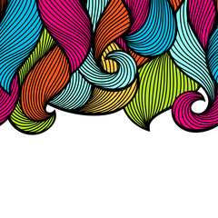 Wavy curled seamless pattern. Abstract outline colorful texture
