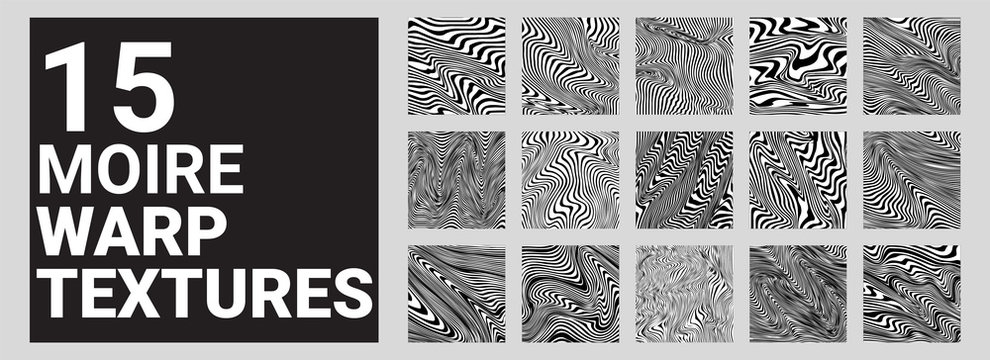 Set of 15 Moire Waves Warped Line Textures / Backgrounds
