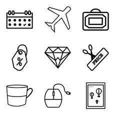 Set Of 9 simple editable icons such as Wall poster or frame with smile, Mouse, Cup, Scissors and price, Diamond, Price tag, Bag, Airplane, Calendar, can be used for mobile, web UI