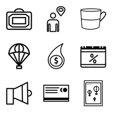 Set Of 9 simple editable icons such as Wall poster or frame with smile, Shopping card, Sound, Percent, Shopping money, Delivery service, Cup, Map pointer with man, Bag, can be used for mobile, web UI