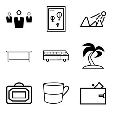 Set Of 9 simple editable icons such as Wallet, Cup, Bag, Palma tree, Bus, Table, Sun shining, Wall poster or frame with smile, Business, can be used for mobile, web UI