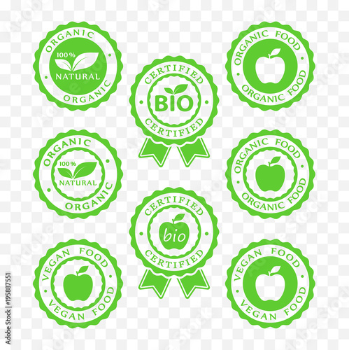 Bio Vegan Organic Food And Products Icon Set Bio Vegan Organic