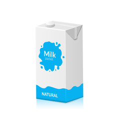 Milk packet isolated on white background. Vector illustration of carton pack. Paper box design for drink milk product