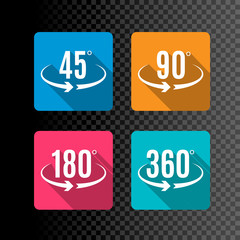 Angle degrees flat icons vector design. Arrows rotation circle symbol. Geometry measure
