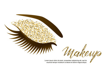 Vector illustration of beautiful female eye with long eyelashes and holiday luxury makeup. Golden glitters eyeshadows, trendy makeup. Concept for beauty salon, cosmetics label, visage and makeup.