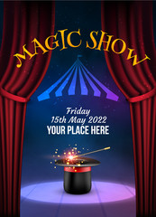 Magic Show poster design template. Illusion magical vector background. Theater magician flyer with hat trick