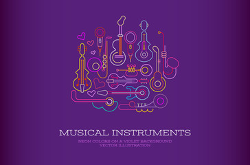 Canvas Prints Abstract Art Musical Instruments Neon