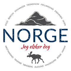 "Grunge button (""Norway - I love you"")"