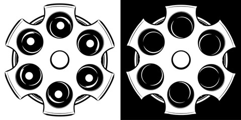 Cylinder of a revolver vector illustration. Russian roulette icon. Black and white
