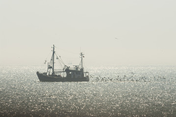 Saphir Cux 14 fishing boat in front of the coast of Helgoland