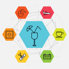 Set Of 7 black simple editable icons such as Wall poster or frame with smile, Scissors and price, Calendar, Tea or coffee cup, Airplane, Mouse, cocktail on colorful heptagon network shape design