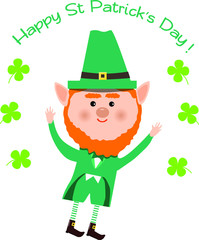 Saint Patrick and clover on white background