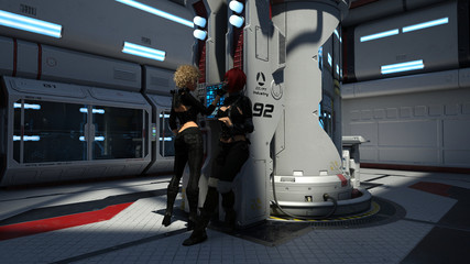 Spaceship Communications Room With Female Travelers 3D Rendering