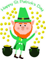 Saint Patrick and coins on white background