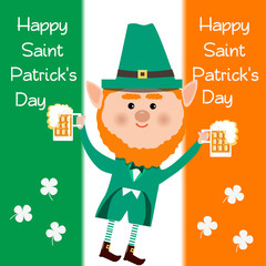 Saint Patrick and clover and beer on white background