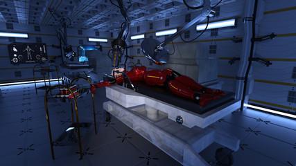 Spaceship Medical Bay With Female Travelers 3D Rendering