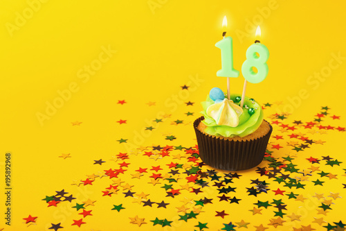 18th Birthday Cupcake With Candle And Sprinkles