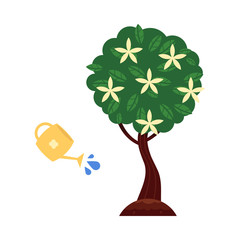 Vector flat green abstract blooming tree with flowers big foliage, watering can icon. Isolated illustration with forest, garden plant, spring or summer, ecology and environment symbol white background