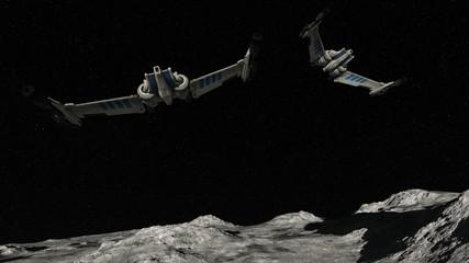 Spaceships Flying Over Planet In Space 3D Rendering