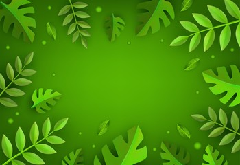Vector green leaves frame background template. Abstract natural decoration pattern. Summer tropucal exotic jungle. Fern monstera paradise resort, holiday vacation, oraganic food poster illustration