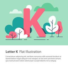 Decorative alphabet, letter K in floral background, park trees, simple font, education concept