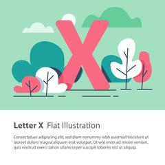 Decorative alphabet, letter X in floral background, park trees, simple font, education concept