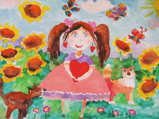 Child's drawing of a girl on a meadow with a sunflower