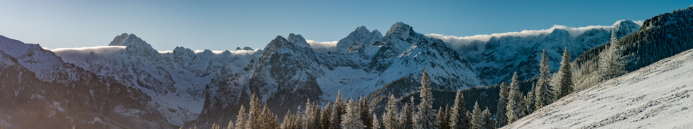 High Tatra mountains panorama on winter day