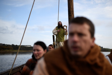 Saint Patrick, played by Marty Burns, arrives as the re-enactment of the first landing of Saint Patrick in Ireland takes place at Inch Abbey in Downpatrick