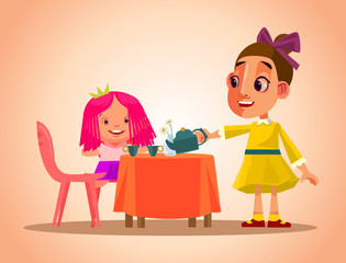 Happy smiling little girl character play tea party and care her doll. Vector cartoon illustration