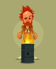 Sad unhappy tired homeless man character warms near burning garbage. Vector cartoon illustration