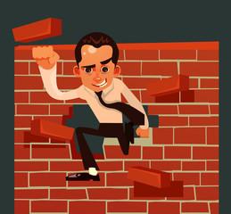 Strong brave businessman office worker character broke brick wall. Vector cartoon illustration