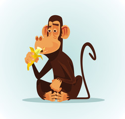 Happy smiling monkey character eating banana. Vector cartoon illustration