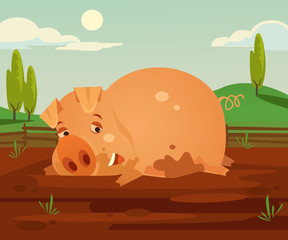 Happy smiling pig character fun in dirty. Vector cartoon illustration