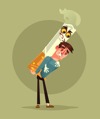 Smoker man character carry cigarette monster. Smoking problem concept. Vector cartoon illustration