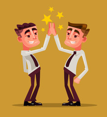 Two happy smiling office workers characters high five. Teamwork concept. Vector flat cartoon illustration