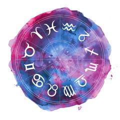 zodiac symbols in watercolor circle
