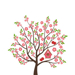 Cute cartoon bird on tree. Spring scene with flowers, trees and birdhouse. Vector illustration on white background.