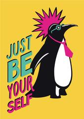 Pop art poster with penguin punk. Humorous illustration.