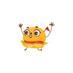 Funny hamburger character with happy human face, running excitedly, waving hands, cartoon vector illustration isolated on white background. Cartoon smiling hamburger character, mascot with human face