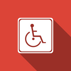 Disabled handicap icon isolated with long shadow. Wheelchair handicap sign. Flat design. Vector Illustration