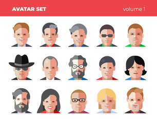 Set of 15 flat avatars icons. Funny bright vector illustrations.